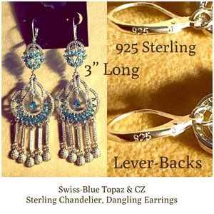Swiss Topaz, 925-Silver Chandelier Earrings